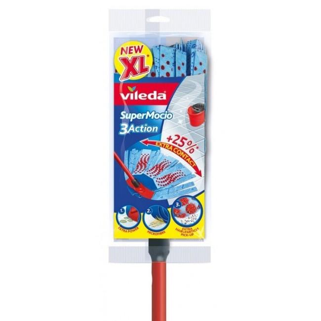 Швабра для мытья пола + целлюлозная насадка 150см., Super Mocio 3Action Velour, с ручкой, красн. Vileda - фото 3