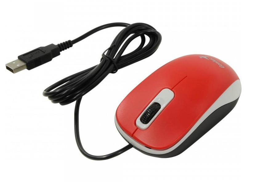 Мышь USB оптическая DX-110, красн. Genius - фото 2