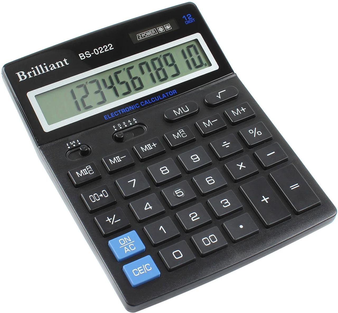 Калькулятор бухгалтерский BS-0222, 12 разрядов, 140х176х45мм, черн. Brilliant - фото 1