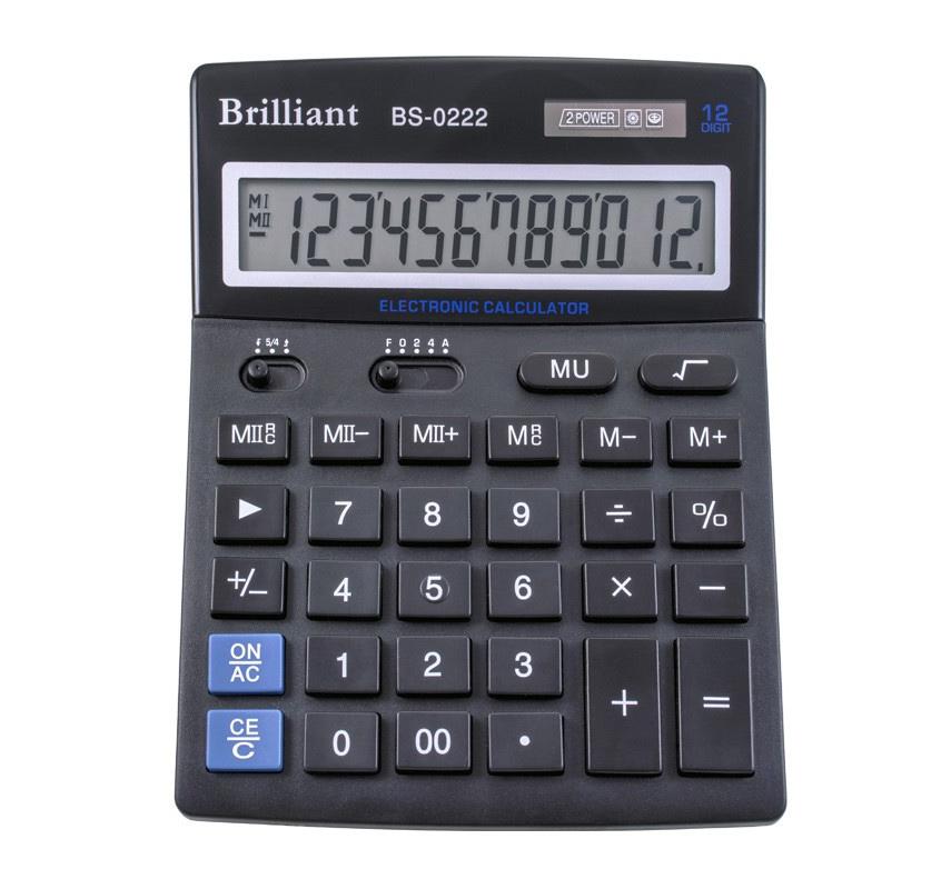 Калькулятор бухгалтерский BS-0222, 12 разрядов, 140х176х45мм, черн. Brilliant - фото 2