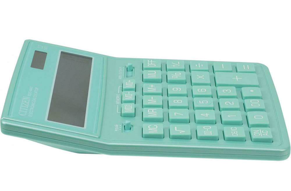 Калькулятор бухгалтерский SDC444XRGNE-green 12 разрядов, 204х155х32мм., зелен. Citizen - фото 4