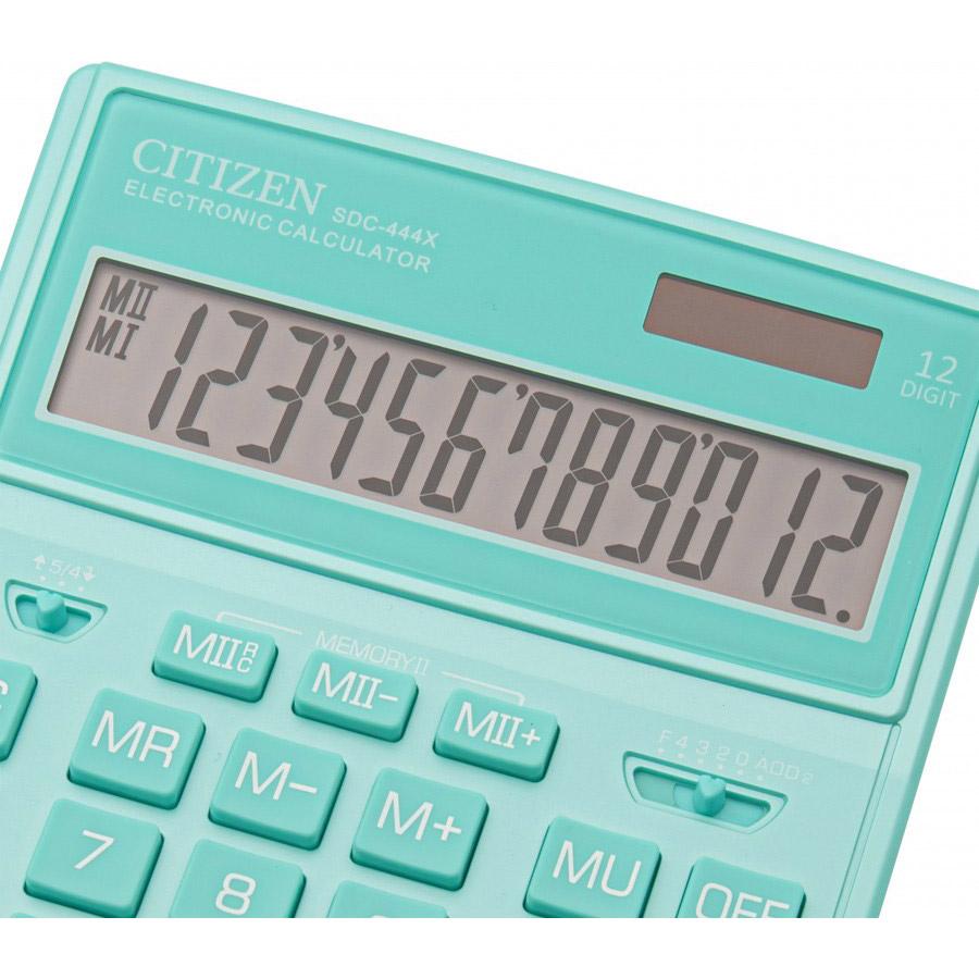 Калькулятор бухгалтерский SDC444XRGNE-green 12 разрядов, 204х155х32мм., зелен. Citizen - фото 5