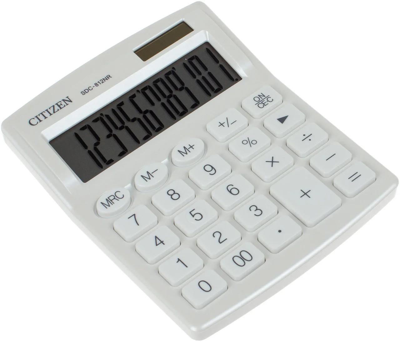 Калькулятор бухгалтерский SDC812NRWHE-white 12 разрядов, 125х100х34мм., бел. Citizen - фото 3