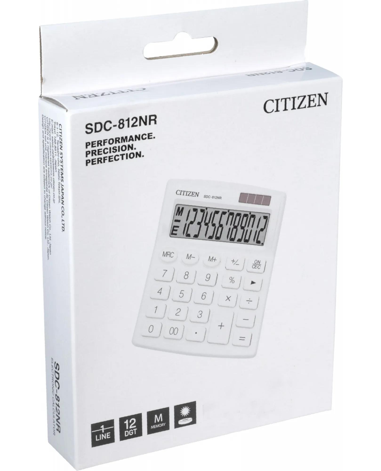 Калькулятор бухгалтерский SDC812NRWHE-white 12 разрядов, 125х100х34мм., бел. Citizen - фото 4