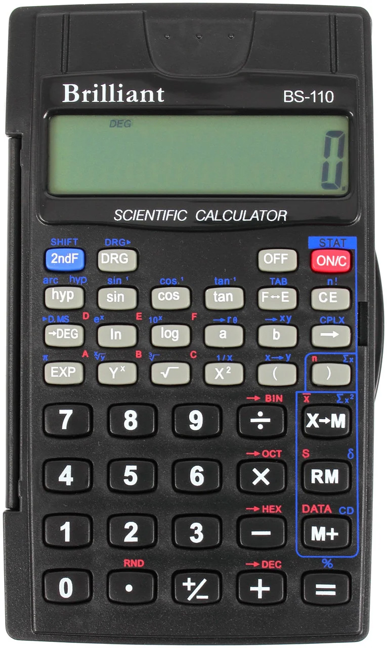 Калькулятор инженерный BS-110, 8+2 разрядов, 56 функций, 72х120х12мм, черн. Brilliant - фото 2