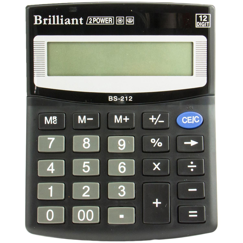 Калькулятор бухгалтерский BS-212, 12 разрядов, 100х125х15мм, черн. Brilliant - фото 1