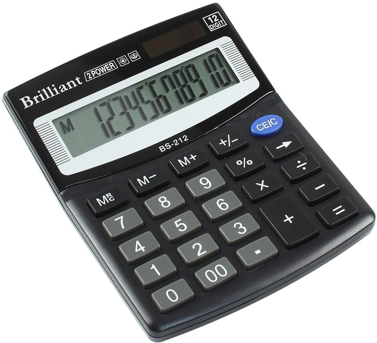 Калькулятор бухгалтерский BS-212, 12 разрядов, 100х125х15мм, черн. Brilliant - фото 2