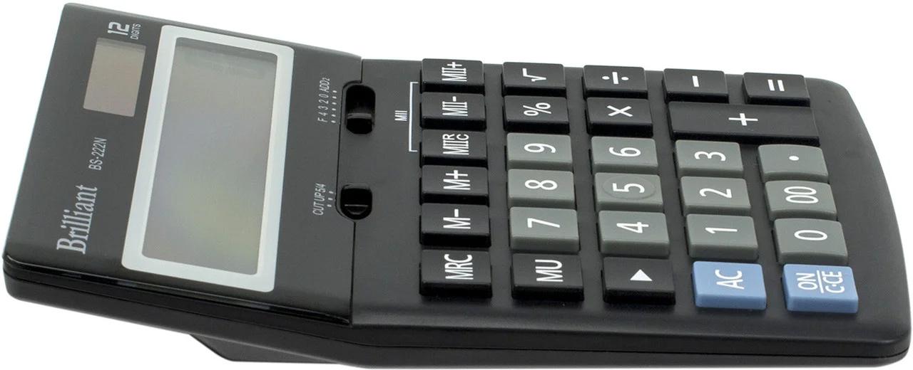Калькулятор бухгалтерский BS-222N, 12 разрядов, 123х171х31мм, черн. Brilliant - фото 3