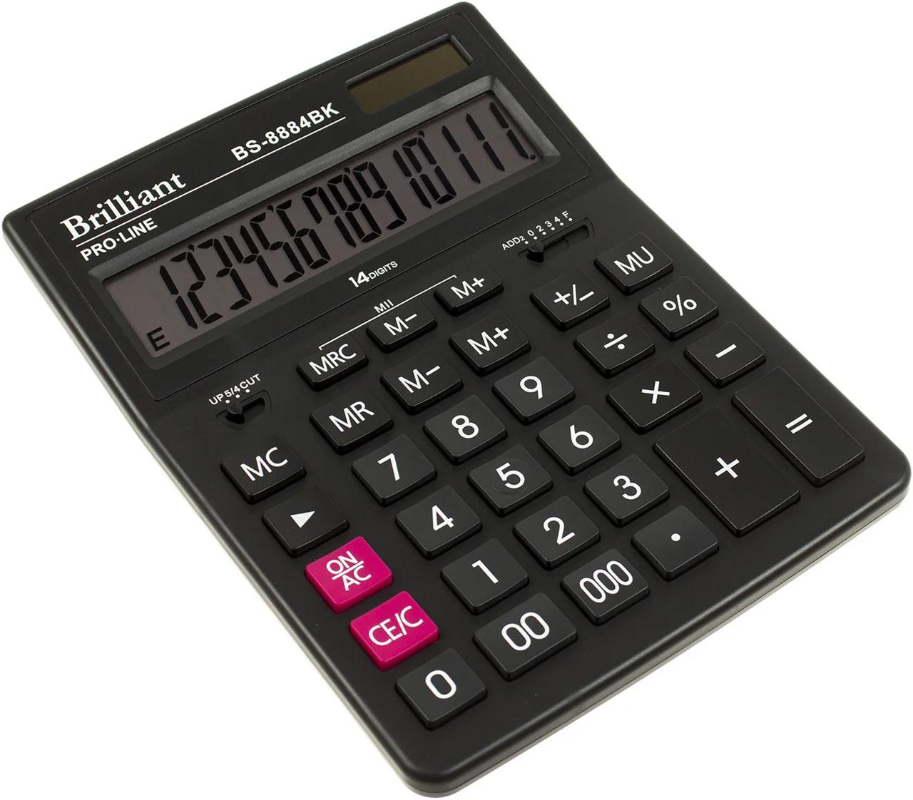 Калькулятор бухгалтерский BS-8884BK, 14 разрядов, 150х200х30мм, черн. Brilliant - фото 1