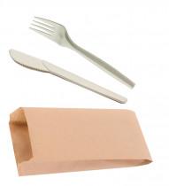 Набор Вилка+Нож из куккурузного крахмала, в крафт пакете, беж.