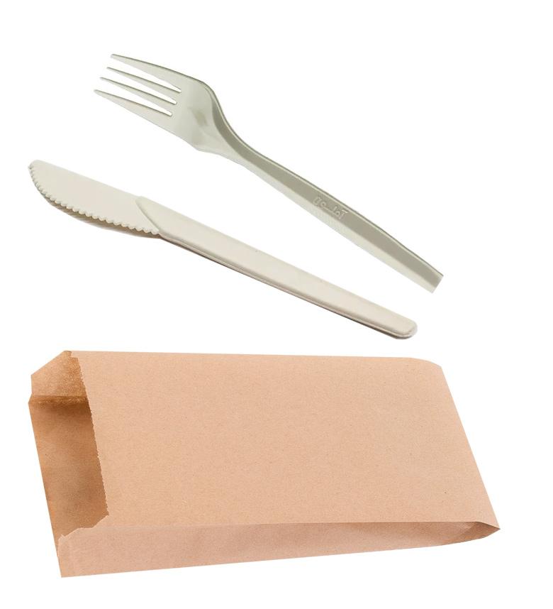 Набор Вилка+Нож из куккурузного крахмала, в крафт пакете, беж. AMELON - фото 1