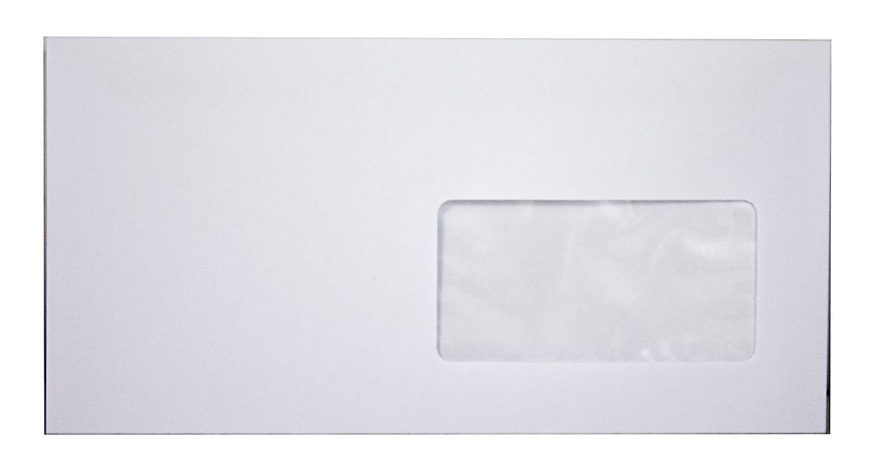 Конверт E65 110*220 отр. лента , с окном, 80гр./м2., загрузка по длинной стороне, бел. Optimail - фото 2