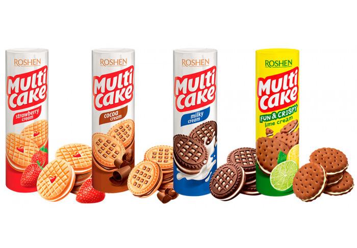 Печенье Мульти-Кейк с клубнично-кремовой начинкой, 195гр. Roshen - фото 2