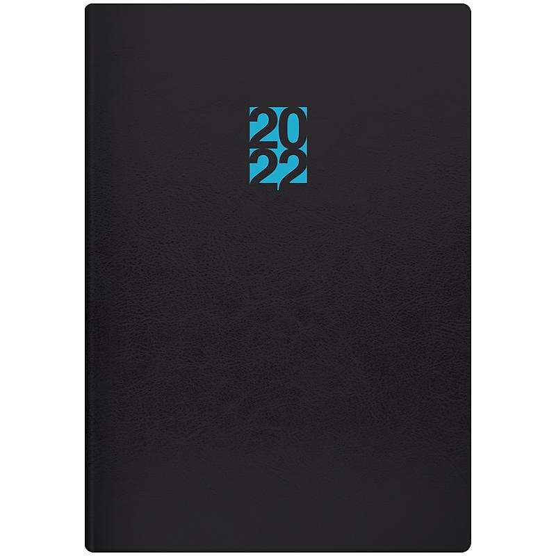Ежедневник датированный 2022 Стандарт Flex Neo черный с голубым, 14,5х20,6см., черн. Brunnen - фото 1