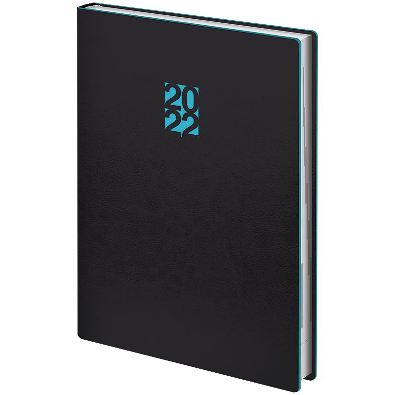 Ежедневник датированный 2022 Стандарт Flex Neo черный с голубым, 14,5х20,6см., черн. Brunnen - фото 2
