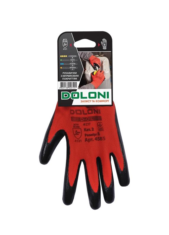 Перчатки трикотажные с нитриловым покрытием D-OIL, маслобензостойкие, размер 8 (M), красн. Doloni - фото 2