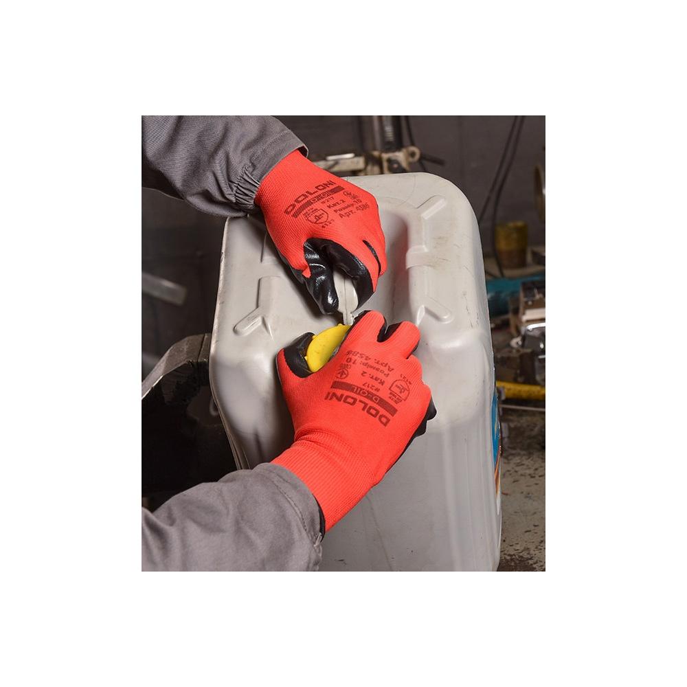 Перчатки трикотажные с нитриловым покрытием D-OIL, маслобензостойкие, размер 8 (M), красн. Doloni - фото 3