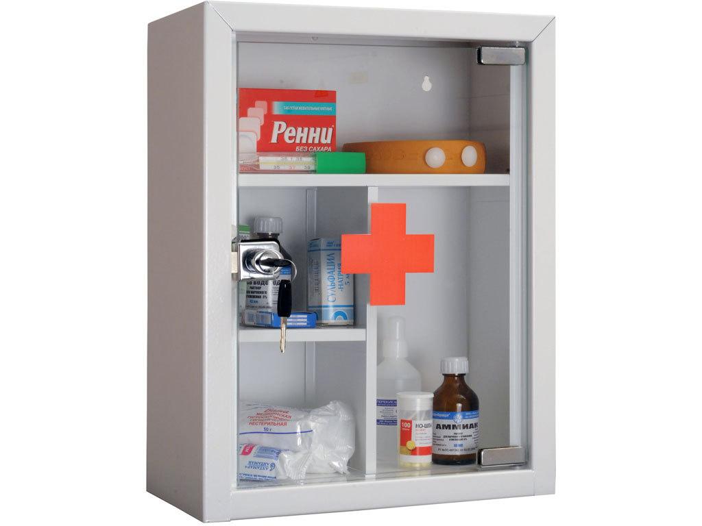 Аптечка медицинская 1 дверь, 2 полки (390*300*160) метал/стекло, замок, бел. Практик - фото 4