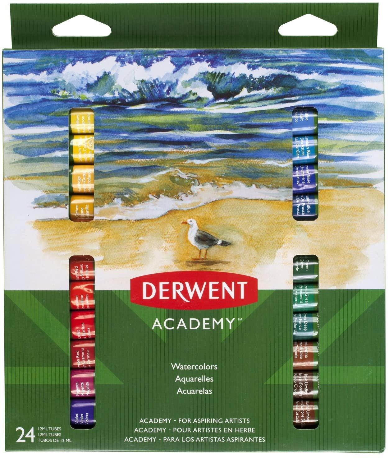 Краски акварельные 24цв., в тюбике Derwent Academy, ассорт. Derwent - фото 1