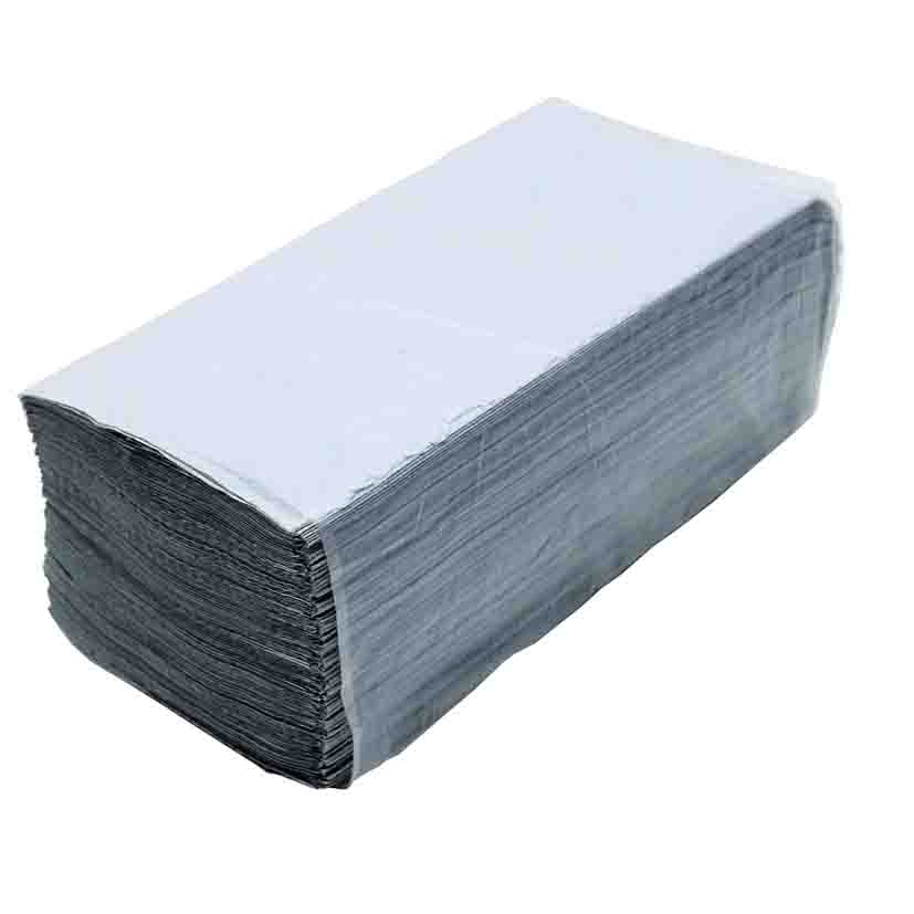 Полотенца листовые V (ZZ) -складки 1-сл., макул., 200 лист.(22,5*22,5см.), ECO, сер. Tischa Papier - фото 1