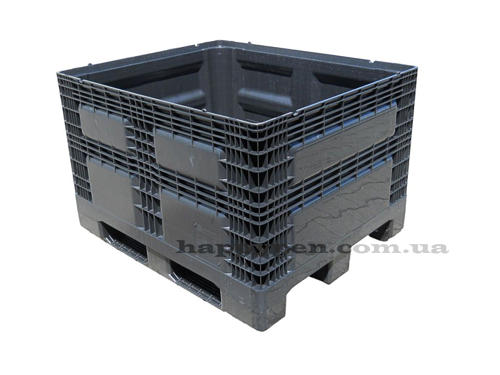 Контейнер пластиковый сплошной на 3-х полозьях (непищевой) 1200*1000*780мм, черн.