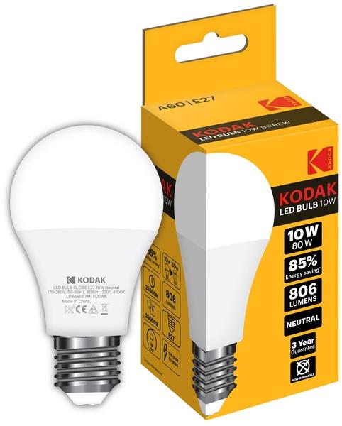 Лампа светодиодная LED E27 A60 10Вт. 4100К (нейтрально белый свет) Kodak - фото 1
