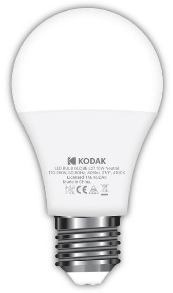 Лампа светодиодная LED E27 A60 10Вт. 4100К (нейтрально белый свет) Kodak - фото 2