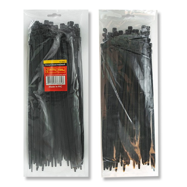 Хомут пластиковый (стяжка) 2,5x150 мм, (100 шт/упак), TC-2516, черн. INTERTOOL - фото 1