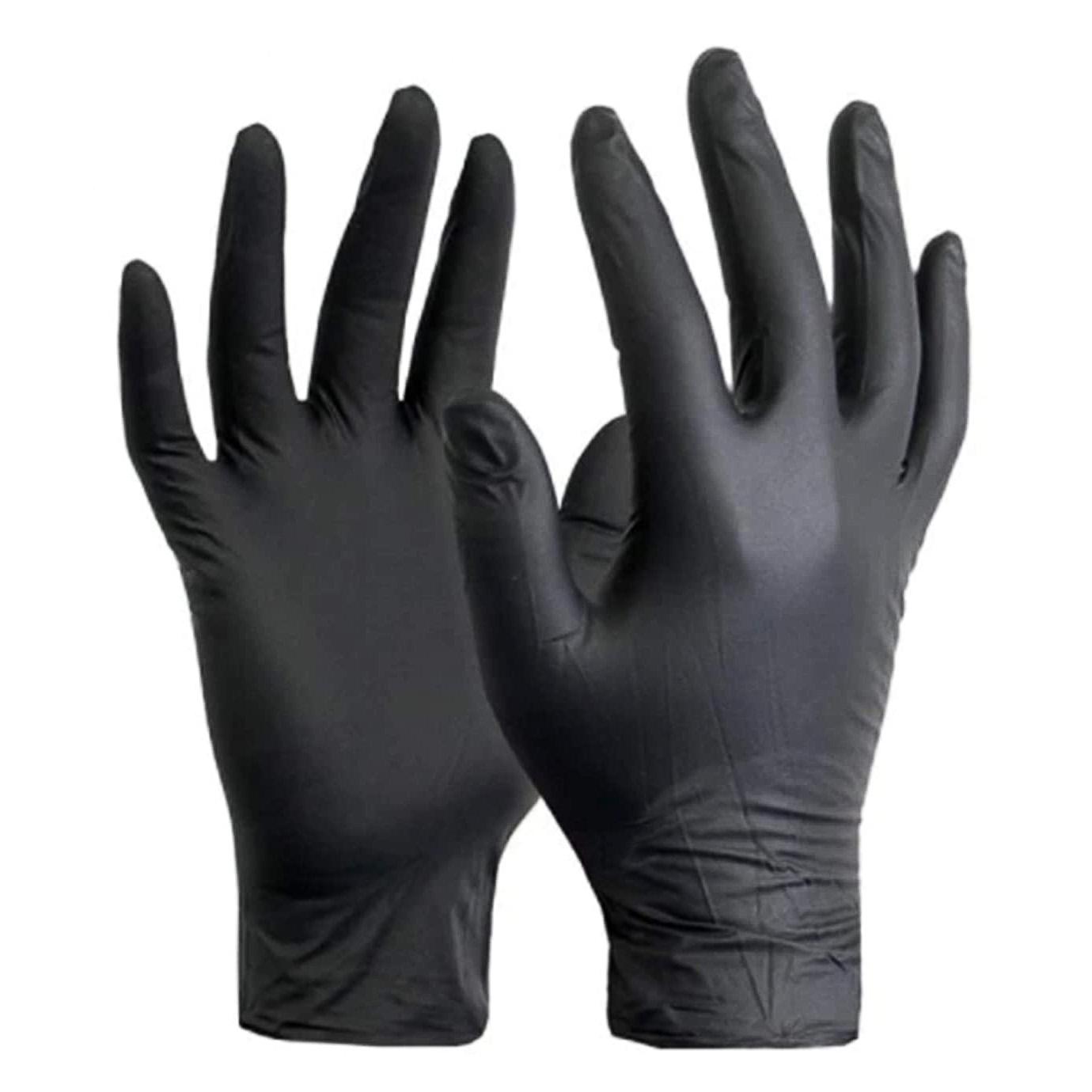 Перчатки нитриловые неопудренные Nitnle gloves , размер M, 100шт./уп., черн. Китай - фото 1