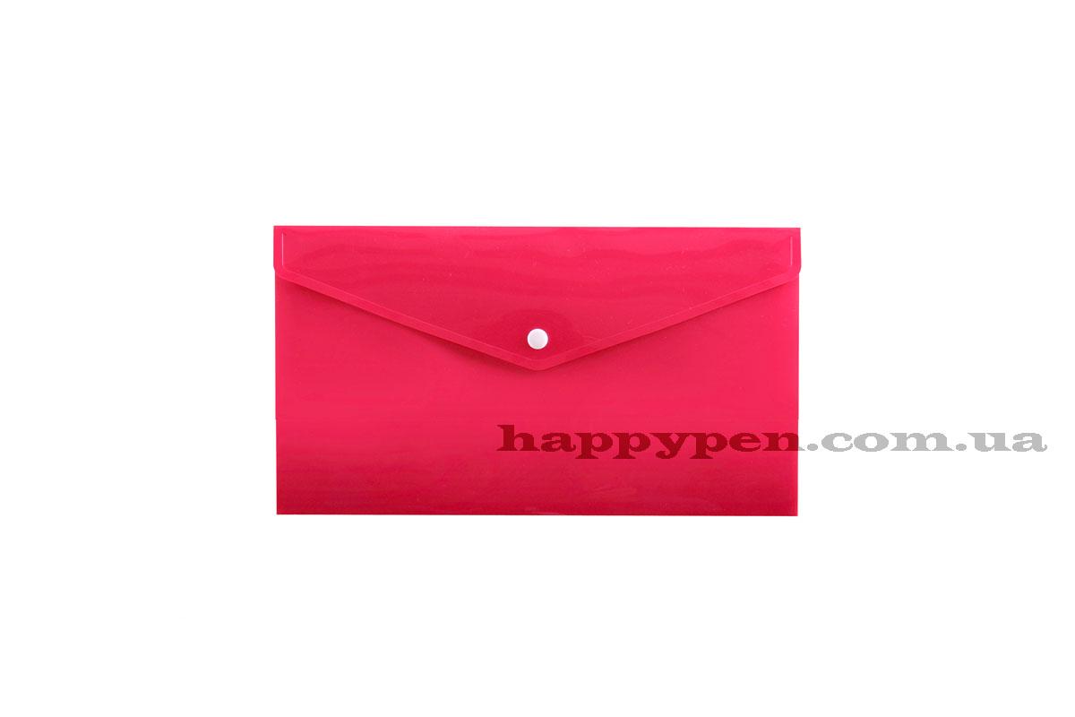 Папка-конверт на кнопке E65/DL (253*129мм), PP-115, толщина 180мкм., розов. Penmate - фото 1