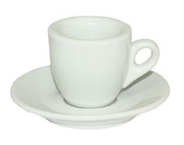 Чашка кофейная 60мл. с блюдцем, бел. Китай - фото 1