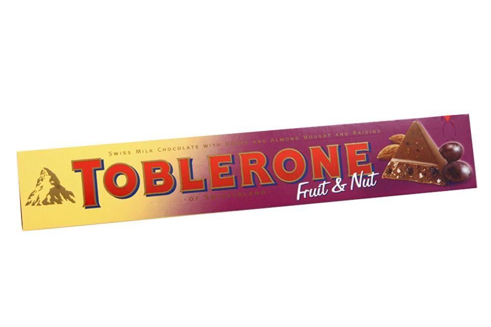 Шоколад Тоблерон в молочном шоколаде с изюмом и нугой, 100г.
