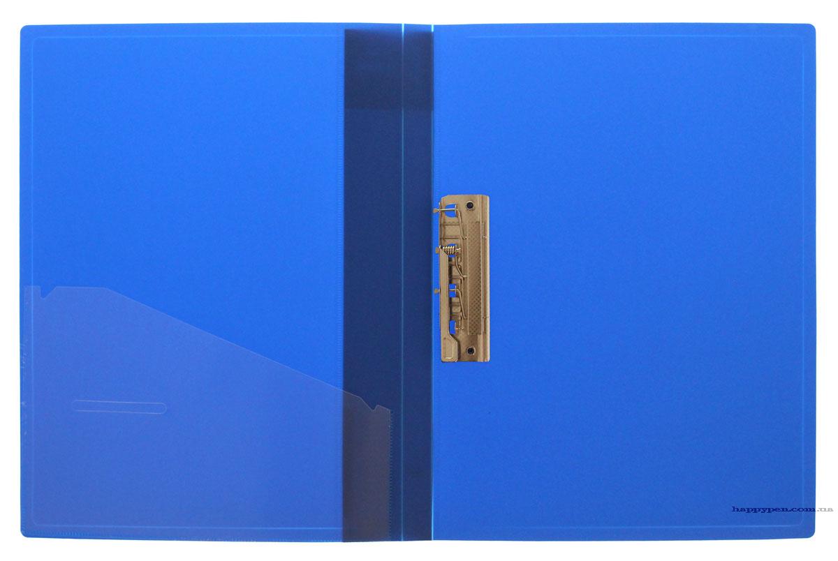 Папка с боковым прижимом А4, 20мм., пластик, син.