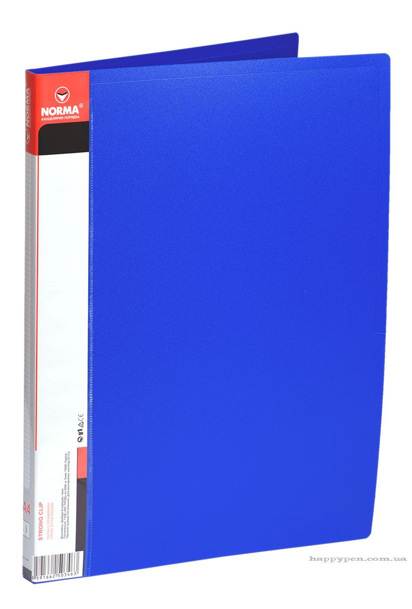Папка с боковым прижимом А4, 20мм., пластик, син. NORMA - фото 2