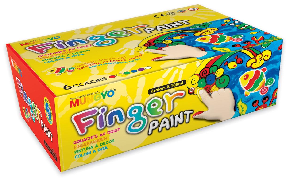 Краски для рисования пальцами 6цв. по 100мл. Mungyo - фото 1