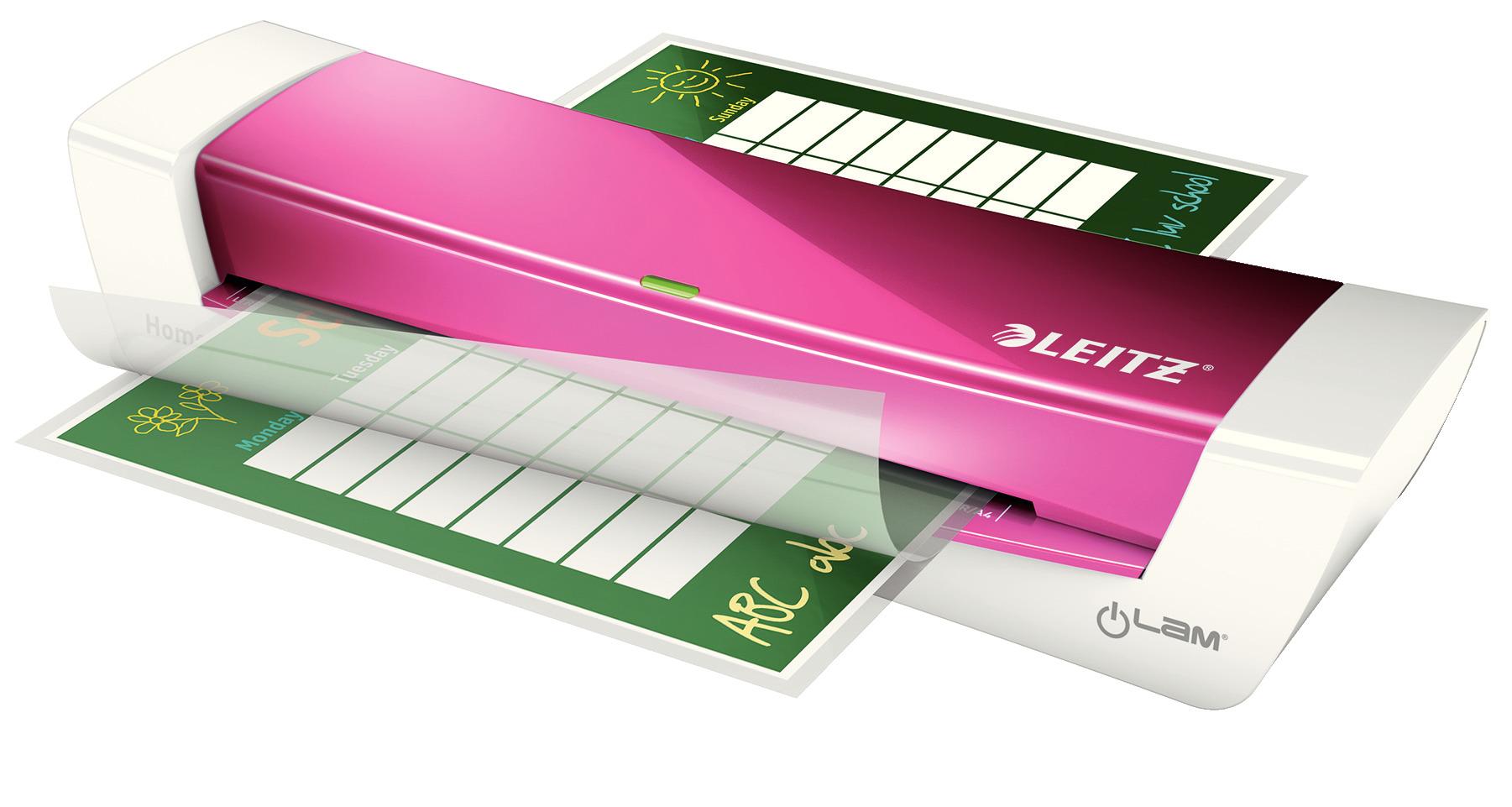 Ламинатор А4 I-lam Home Office, плотность пленки 60 - 125мкм., розов. LEITZ - фото 4