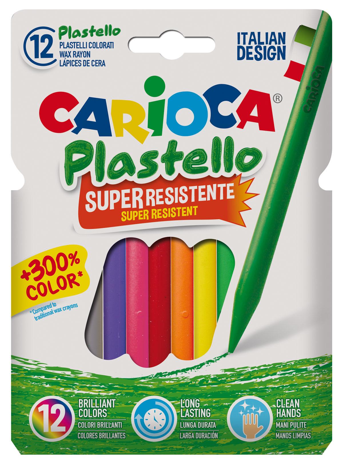 Карандаши восковые 12цв. Plastello, круглые Carioca - фото 1