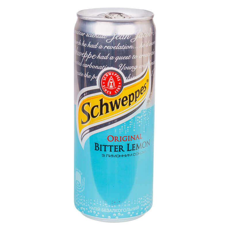 Вода Швепс Битер лимон, 0,33л., 12шт./уп., жестяная банка