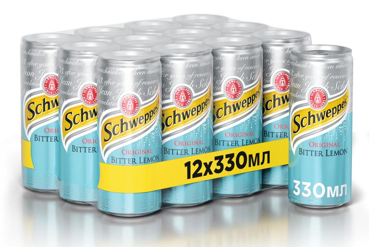 Вода Швепс Битер лимон, 0,33л., 12шт./уп., жестяная банка Schweppes - фото 2
