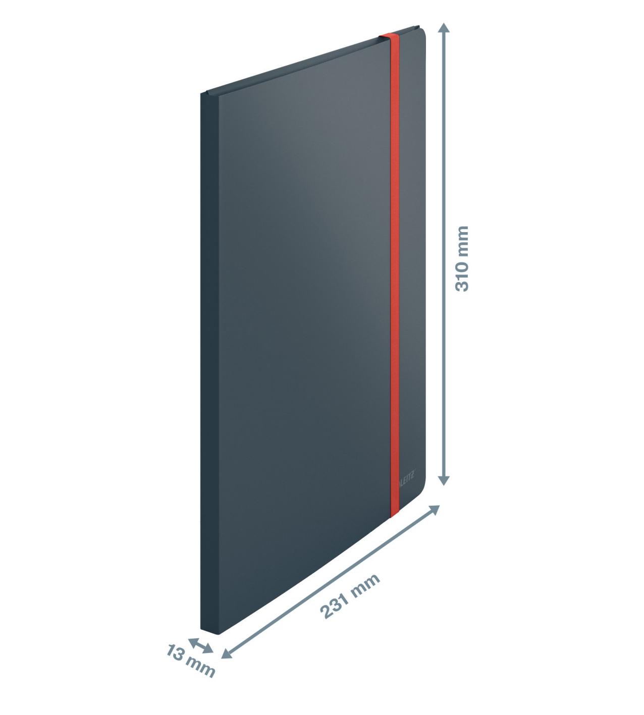 Папка на 20 файлов COSY с тремя клапанами на резинке, серый LEITZ - фото 3