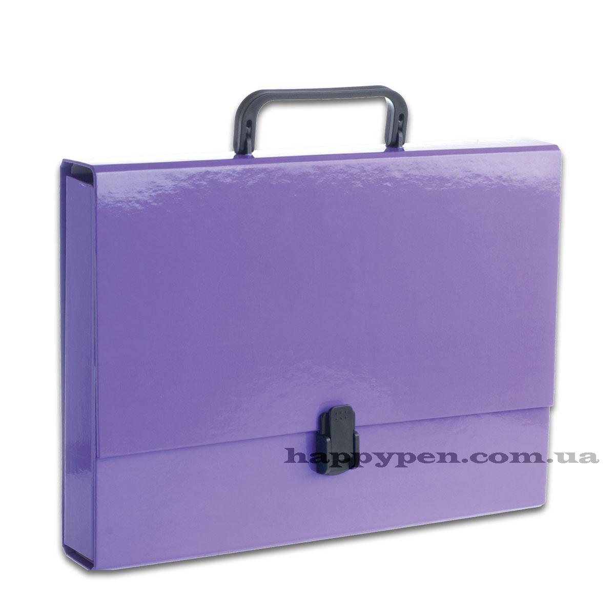Портфель с ручкой, картонный А4 (32*23,5*5см), на 1 отделение, фиолет. Penmate - фото 1