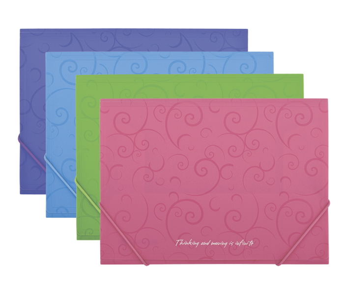 Папка на резинках Barocco А4, пластик, голуб. BuroMax - фото 2