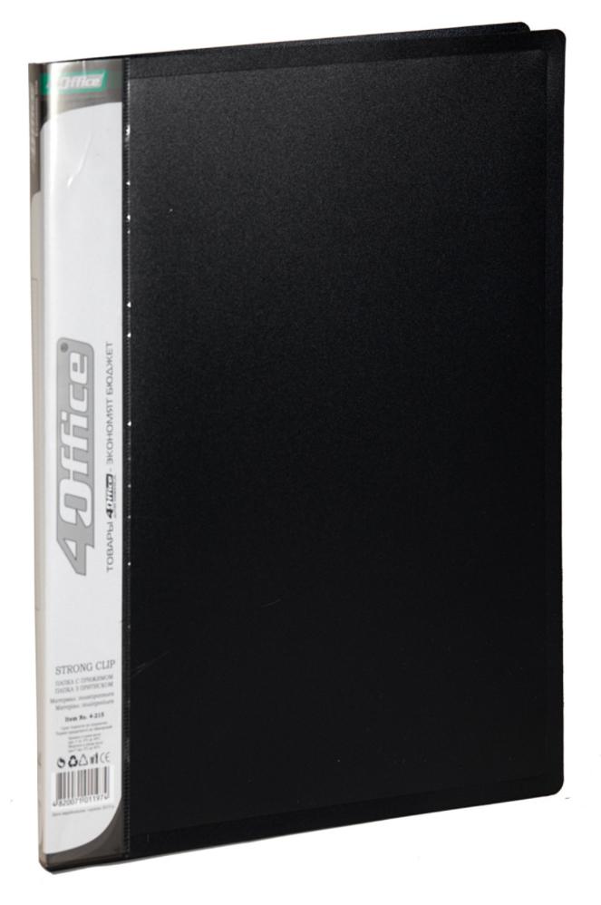 Папка с боковым прижимом А4, 18мм., пластик,  черн. 4Office - фото 1