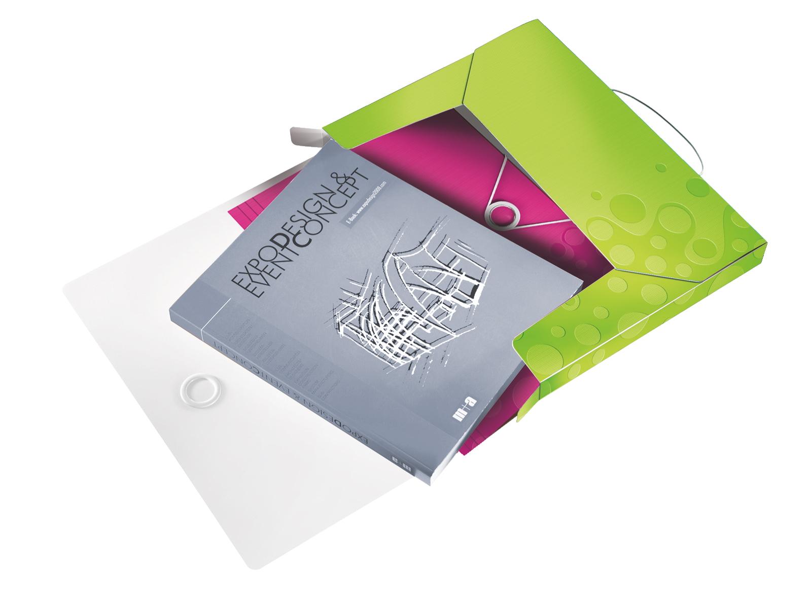 Папка-бокс на резинках Wow А4, 30мм., до 250л., пластик, метал. зелен. LEITZ - фото 2