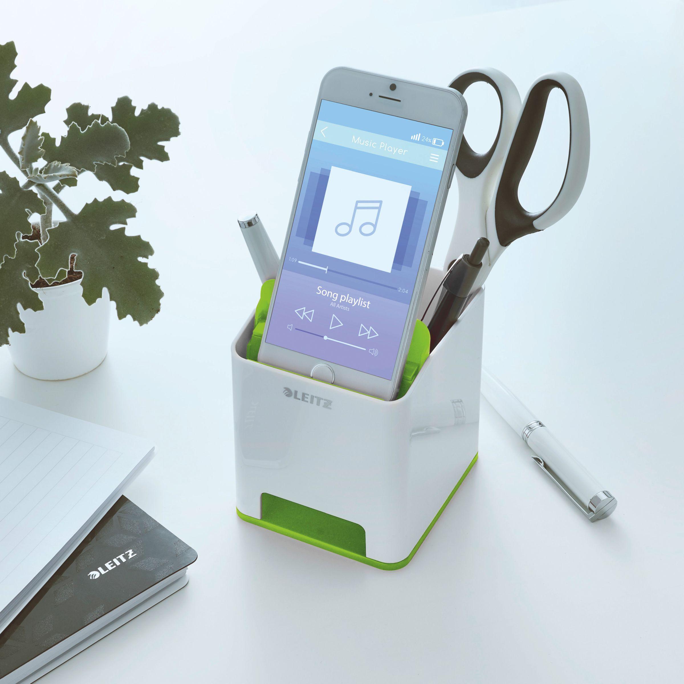 Подставка для ручек и смартфона WOW пластиковая, квадратная, зелен. LEITZ - фото 4