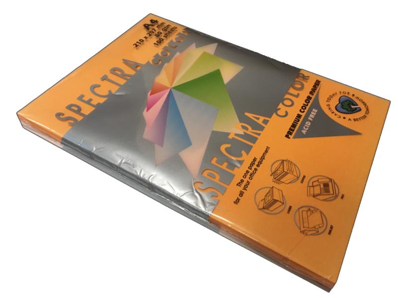 Бумага цветная Color A4 неон 75гр./м2. Orange, 500листов, оранж. Spectra Color - фото 1
