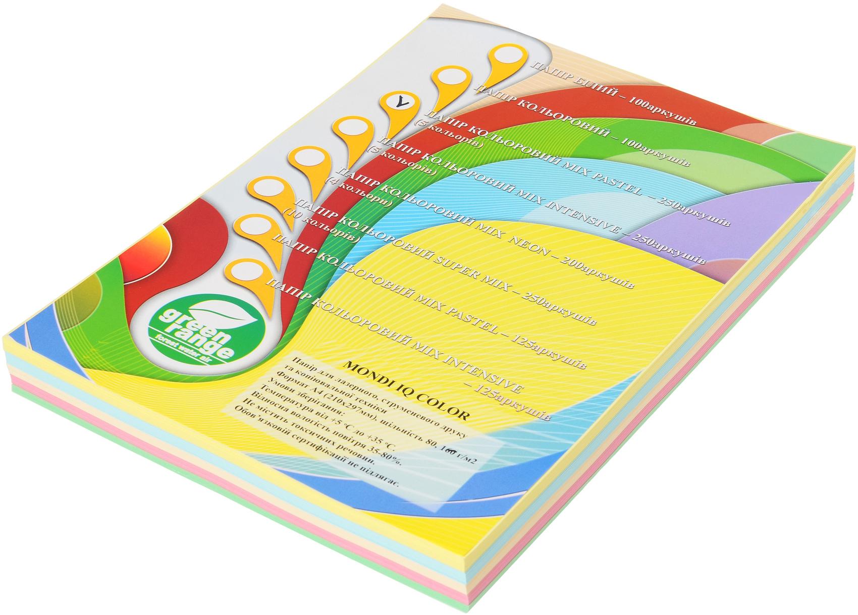 Набор бумаги цветной RB01, A4 80г/м2., 250листов (5 цветов по 50 листов), пастель Mondi - фото 1