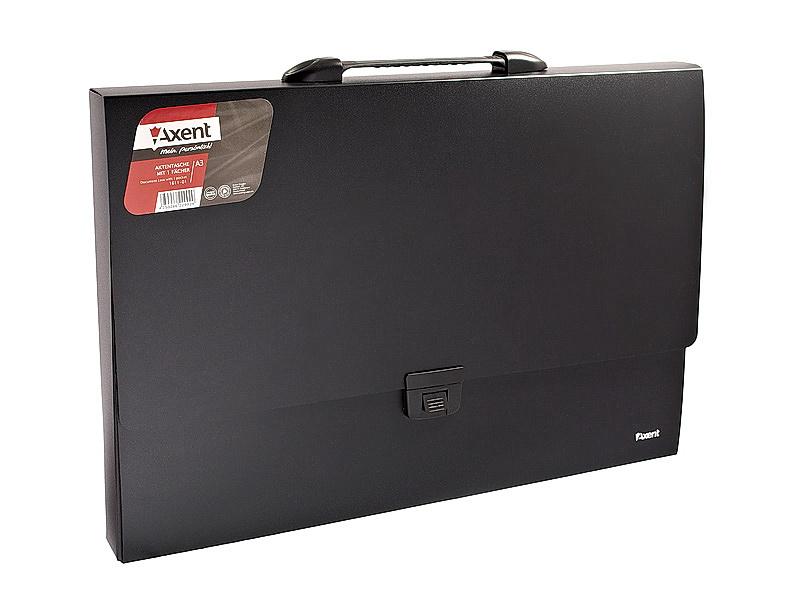 Портфель А3, на 1 отделение пластик с ручкой, черн. Axent - фото 1