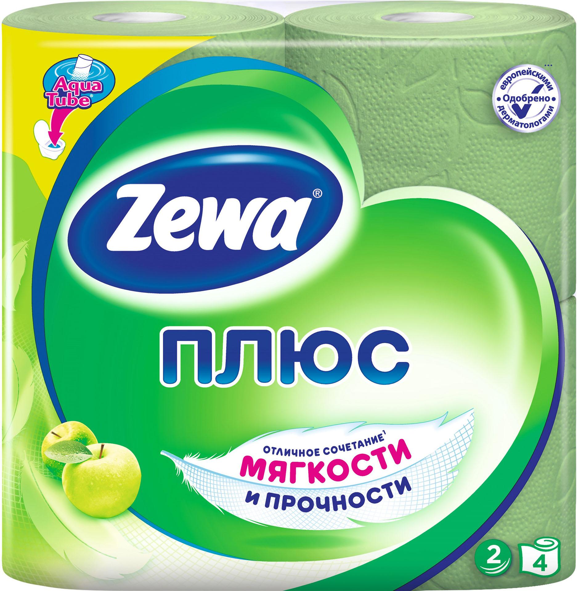 Туалетная бумага Стандарт 2-х сл., целлюлоза, 168отр.(9,5*12,5см.) Яблоко, 4шт./уп., зелен. ZEWA - фото 1