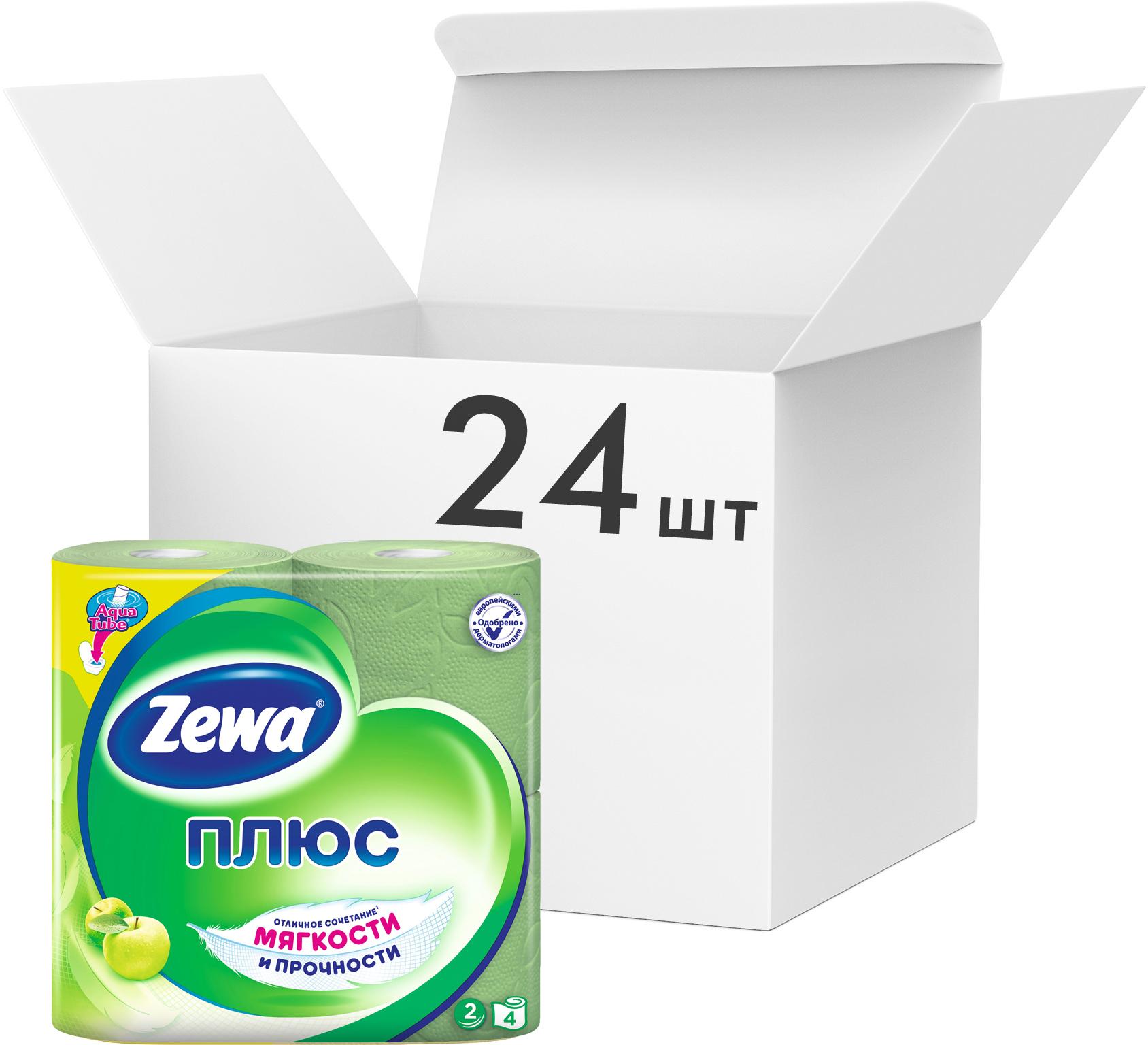 Туалетная бумага Стандарт 2-х сл., целлюлоза, 168отр.(9,5*12,5см.) Яблоко, 4шт./уп., зелен. ZEWA - фото 2